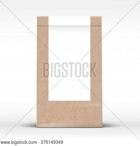 Craft Paper Bag With Clear White Label Template. Realistic Carton Texture Packaging Mock Up With Sof
