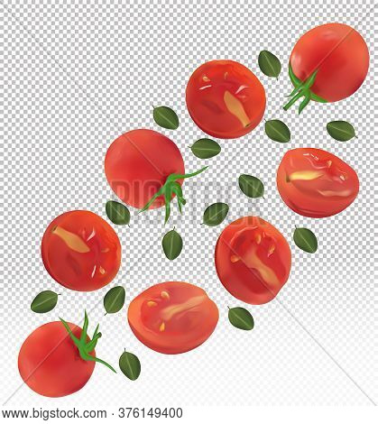 Collection Red Of Tomato With Leaves On Transparent Background. Tomato Flying Are Whole And Cut In H