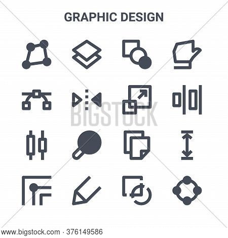 Set Of 16 Graphic Design Concept Vector Line Icons. 64x64 Thin Stroke Icons Such As Layers, Nodes, A