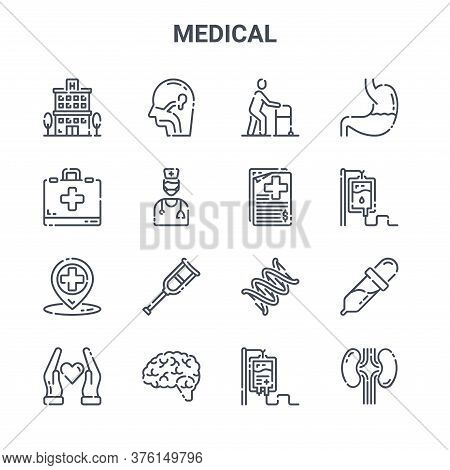 Set Of 16 Medical Concept Vector Line Icons. 64x64 Thin Stroke Icons Such As , First Aid Kit, Blood