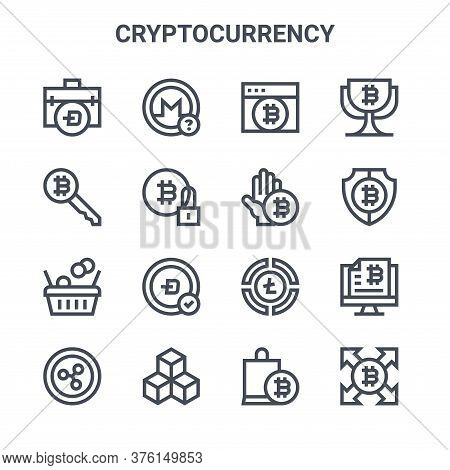 Set Of 16 Cryptocurrency Concept Vector Line Icons. 64x64 Thin Stroke Icons Such As Bitcoin, Key, Bi
