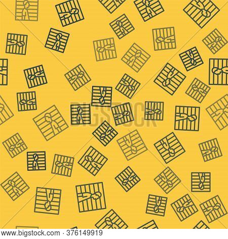Blue Line Suspect Criminal Icon Isolated Seamless Pattern On Yellow Background. The Criminal In Pris