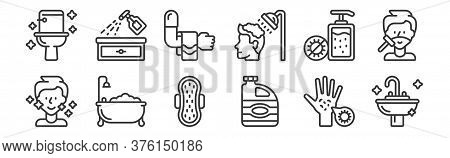 12 Set Of Linear Hygiene Icons. Thin Outline Icons Such As Sink, Bleach, Bathtub, Hand Sanitizer, To