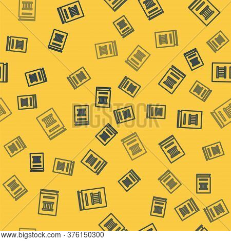 Blue Line Law Book Icon Isolated Seamless Pattern On Yellow Background. Legal Judge Book. Judgment C