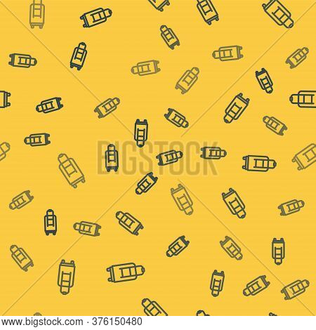 Blue Line Suitcase For Travel Icon Isolated Seamless Pattern On Yellow Background. Traveling Baggage
