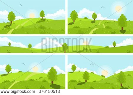Summer Green Hills, Meadows And Fields, Blue Sky With White Clouds. Scenic Green Hills Nature Sky Ho