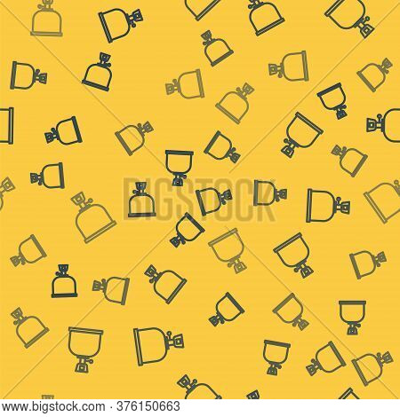 Blue Line Camping Gas Stove Icon Isolated Seamless Pattern On Yellow Background. Portable Gas Burner