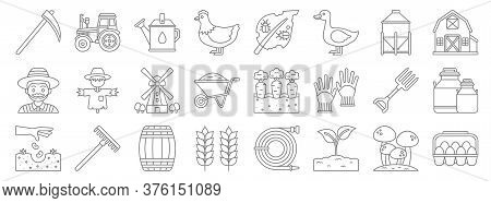 Agriculture Line Icons. Linear Set. Quality Vector Line Set Such As Eggs, Plant, Wheat, Seeding, Pit