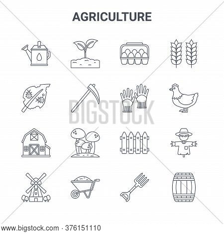 Set Of 16 Agriculture Concept Vector Line Icons. 64x64 Thin Stroke Icons Such As Plant, Pest, Chicke