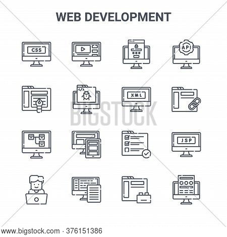 Set Of 16 Web Development Concept Vector Line Icons. 64x64 Thin Stroke Icons Such As Video, De, Link