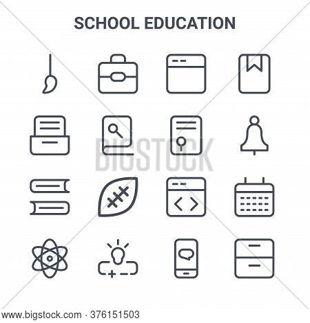 Set Of 16 School Education Concept Vector Line Icons. 64x64 Thin Stroke Icons Such As School Bag, Ca