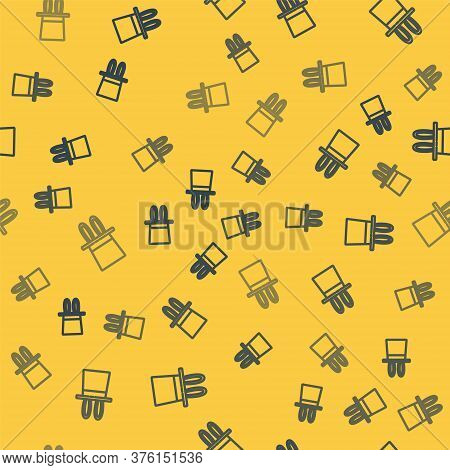 Blue Line Magician Hat And Rabbit Ears Icon Isolated Seamless Pattern On Yellow Background. Magic Tr