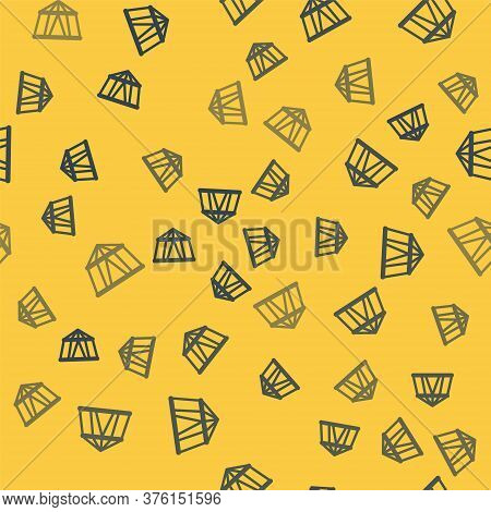 Blue Line Circus Tent Icon Isolated Seamless Pattern On Yellow Background. Carnival Camping Tent. Am