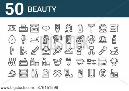 Set Of 50 Beauty Icons. Outline Thin Line Icons Such As Lipstick, Foam, Nail Polish, Hairbrush, Spon