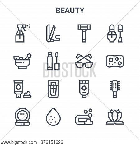 Set Of 16 Beauty Concept Vector Line Icons. 64x64 Thin Stroke Icons Such As , Herbal, Sponge, Sunscr