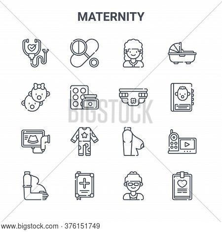 Set Of 16 Maternity Concept Vector Line Icons. 64x64 Thin Stroke Icons Such As Pills, Babies, Guideb