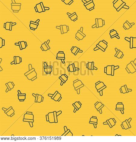 Blue Line Magic Mortar And Pestle Icon Isolated Seamless Pattern On Yellow Background. Vector Illust
