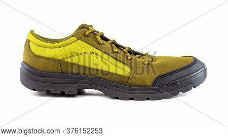 Right Cheap Yellow Hiking Or Hunting Shoe Isolated On White Background
