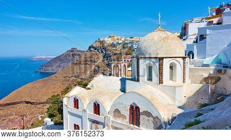 Ancient greek church on the coast in Fira (Thera) town in Santorini island, Greece