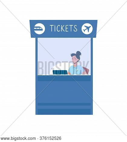 A Ticket Office To Buy Tickets For Train Or Plane. Vector Illustration In Flat Cartoon Style, Blue C