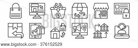 12 Set Of Linear Shopping Line Icons Icons. Thin Outline Icons Such As Online Support, Online Market