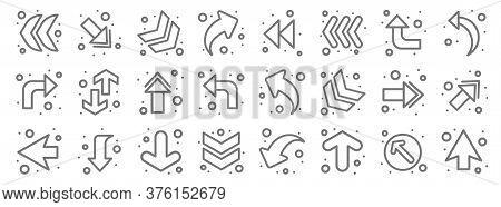 Arrows Line Icons. Linear Set. Quality Vector Line Set Such As Up Arrow, Up Arrow, Down Chevron, Bac