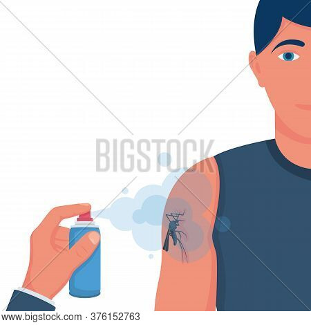 Mosquito Spray In Hand Human. Man Spraying Insect Repellents On Skin Outdoor. Spray Bottle In Arm. P