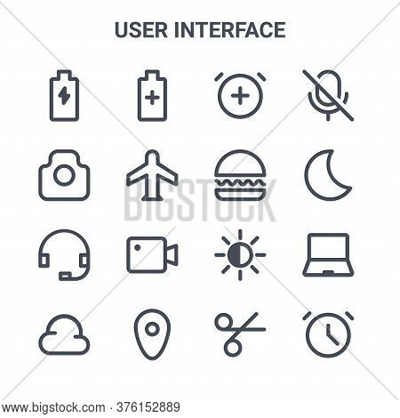Set Of 16 User Interface Concept Vector Line Icons. 64x64 Thin Stroke Icons Such As Battery, Camera,