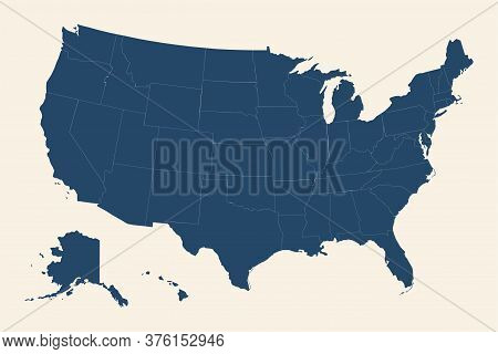 Usa Map With Detailed Provinces. Cyan Blue, Cream White Background.