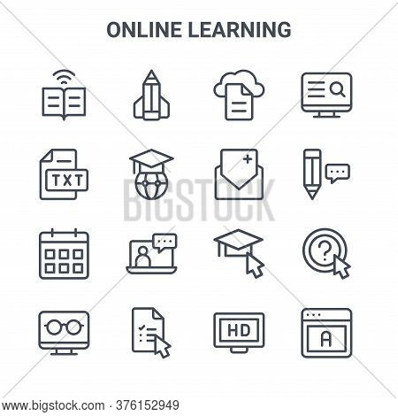 Set Of 16 Online Learning Concept Vector Line Icons. 64x64 Thin Stroke Icons Such As Pencil, Text Fi