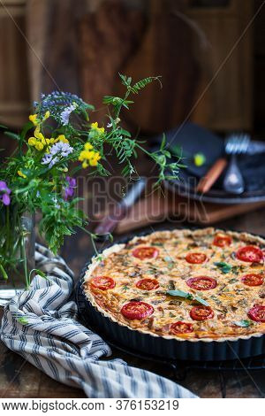 Delicious Homemade Quiche Lorraine With Chicken, Tomato, Mushrooms And Cheese
