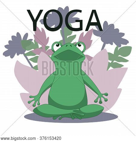Vector Yoga Frog In The Lotus Position. Calm And Zen. Harmony And Health