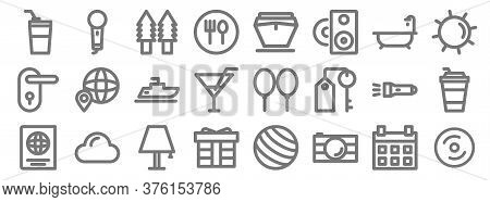 Holiday Line Icons. Linear Set. Quality Vector Line Set Such As Cd Burning, Camera, Gift, Passport,