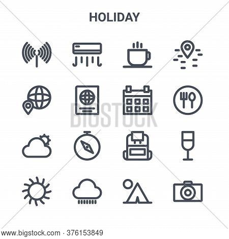 Set Of 16 Holiday Concept Vector Line Icons. 64x64 Thin Stroke Icons Such As Air Conditioning, Maps