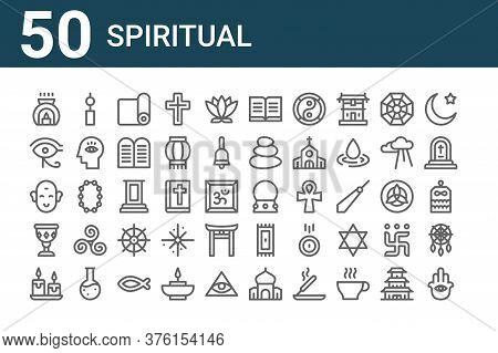Set Of 50 Spiritual Icons. Outline Thin Line Icons Such As Hamsa, Candles, Holy Chalice, Buddha, Eye