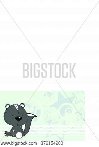 Baby Skunk Toy Kawaii Cartoon Background In Vector Format