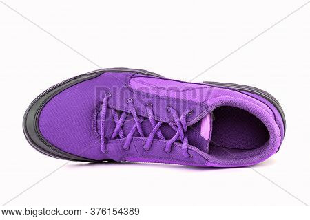 Right Cheap Violet Hiking Or Hunting Shoe Isolated On White Background - View From Above