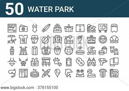 Set Of 50 Water Park Icons. Outline Thin Line Icons Such As Water Slide, Snorkeling, Bikini, Sunscre