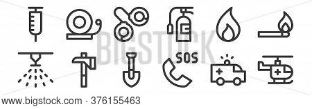 12 Set Of Linear Emergencies Icons. Thin Outline Icons Such As Helicopter, Sos, Axe, Fire, Handcuffs