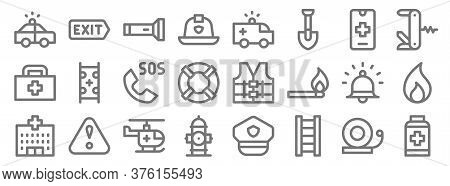 Emergencies Line Icons. Linear Set. Quality Vector Line Set Such As Pills, Ladder, Fire Hydrant, Hos