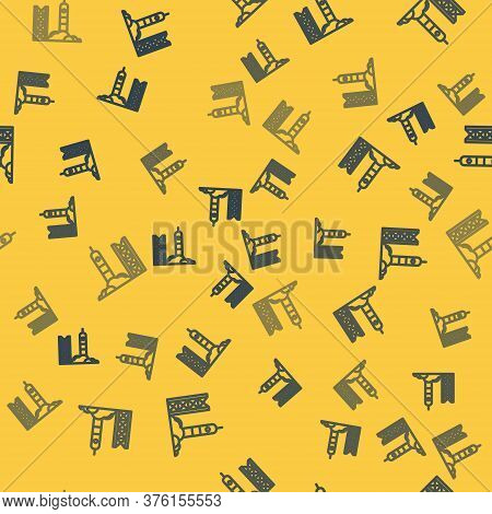 Blue Line Rocket Launch From The Spaceport Icon Isolated Seamless Pattern On Yellow Background. Laun
