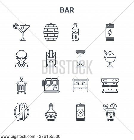 Set Of 16 Bar Concept Vector Line Icons. 64x64 Thin Stroke Icons Such As Barrel, Doorman, Ice Cream,