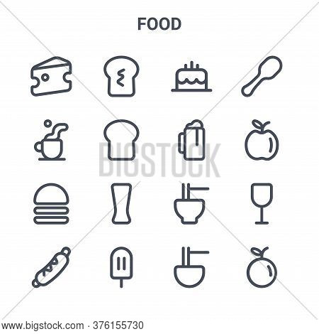 Set Of 16 Food Concept Vector Line Icons. 64x64 Thin Stroke Icons Such As Bread, Coffee, Apple, Nood