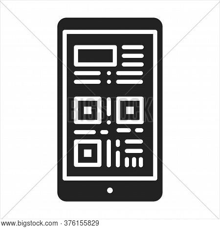 Boarding Pass In Smartphone Black Glyph Icon. Screenshot Or Link Of A Ticket In A Device. Pictogram