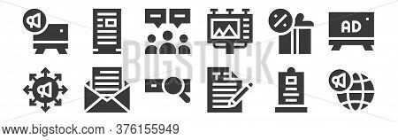 12 Set Of Linear Advertisement Icons. Thin Outline Icons Such As Global Marketing, Writing, Message,