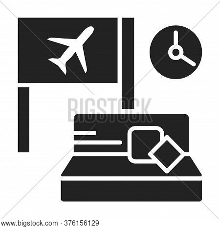 Waiting Room Black Glyph Icon. A Special Room In The Airport, Where People Wait For Their Flight. Pi