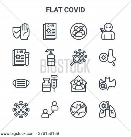 Set Of 16 Flat Covid Concept Vector Line Icons. 64x64 Thin Stroke Icons Such As Coronavirus, Blood T