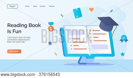 Reading Book Is Fun Open Book Toga Icon Campaign For Web Website Home Homepage Landing Template Bann