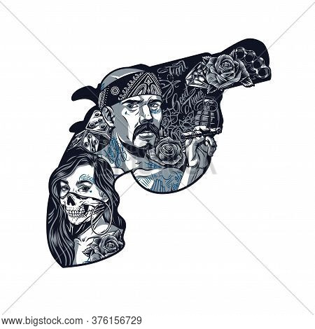 Chicano Tattoo Vintage Template In Shape Of Gun With Girl In Scary Mask Latino Gangster Holding Ciga
