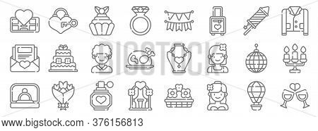 Wedding Line Icons. Linear Set. Quality Vector Line Set Such As Weddings, Bride, Wedding Arch, Propo